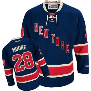 Reebok New York Rangers 28 Men's Dominic Moore Authentic Navy Blue Third NHL Jersey