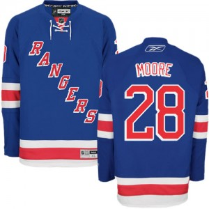 Reebok New York Rangers 28 Men's Dominic Moore Authentic Royal Blue Home NHL Jersey