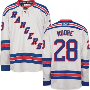 Reebok New York Rangers 28 Men's Dominic Moore Authentic White Away NHL Jersey