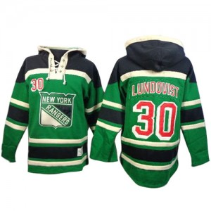 Old Time Hockey New York Rangers 30 Men's Henrik Lundqvist Authentic Green St. Patrick's Day McNary Lace Hoodie NHL Jersey