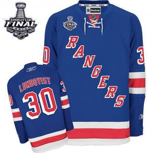 Reebok New York Rangers 30 Men's Henrik Lundqvist Authentic Royal Blue Home 2014 Stanley Cup NHL Jersey