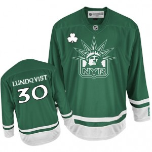 Reebok New York Rangers 30 Men's Henrik Lundqvist Premier Green St Patty's Day NHL Jersey