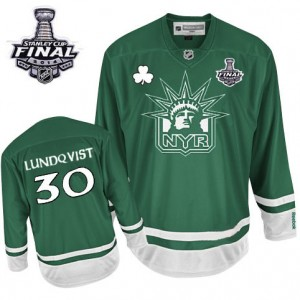 Reebok New York Rangers 30 Men's Henrik Lundqvist Premier Green St Patty's Day 2014 Stanley Cup NHL Jersey