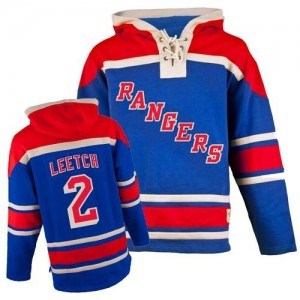 Old Time Hockey New York Rangers 2 Men's Brian Leetch Premier Royal Blue Sawyer Hooded Sweatshirt NHL Jersey