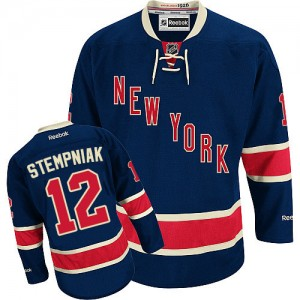 Reebok New York Rangers 12 Men's Lee Stempniak Premier Navy Blue Third NHL Jersey