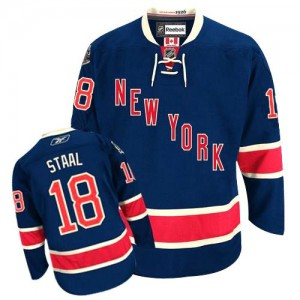 Reebok New York Rangers 18 Men's Marc Staal Authentic Navy Blue Third NHL Jersey
