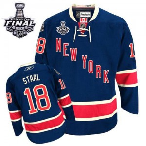 Reebok New York Rangers 18 Men's Marc Staal Authentic Navy Blue Third 2014 Stanley Cup NHL Jersey