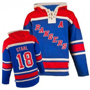 Old Time Hockey New York Rangers 18 Men's Marc Staal Authentic Royal Blue Sawyer Hooded Sweatshirt NHL Jersey