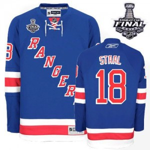 Reebok New York Rangers 18 Men's Marc Staal Authentic Royal Blue Home 2014 Stanley Cup NHL Jersey