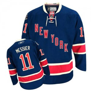 Reebok New York Rangers 11 Men's Mark Messier Premier Navy Blue Third NHL Jersey