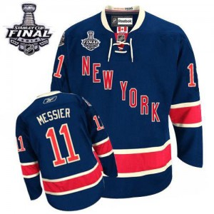 Reebok New York Rangers 11 Men's Mark Messier Premier Navy Blue Third 2014 Stanley Cup NHL Jersey