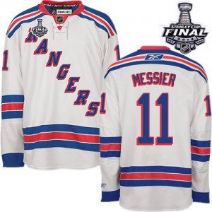 Reebok New York Rangers 11 Men's Mark Messier Authentic White Away 2014 Stanley Cup NHL Jersey
