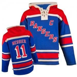 Old Time Hockey New York Rangers 11 Men's Mark Messier Premier Royal Blue Sawyer Hooded Sweatshirt NHL Jersey