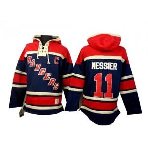 Old Time Hockey New York Rangers 11 Men's Mark Messier Premier Navy Blue Sawyer Hooded Sweatshirt NHL Jersey
