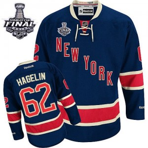Reebok New York Rangers 62 Men's Carl Hagelin Authentic Navy Blue Third 2014 Stanley Cup NHL Jersey