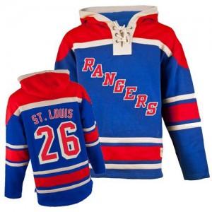 Old Time Hockey New York Rangers 26 Men's Martin St. Louis Authentic Royal Blue Sawyer Hooded Sweatshirt NHL Jersey