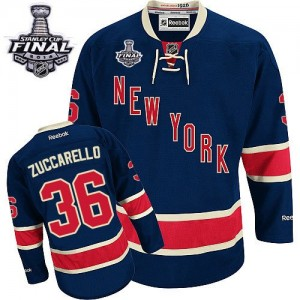Reebok New York Rangers 36 Men's Mats Zuccarello Authentic Navy Blue Third 2014 Stanley Cup NHL Jersey