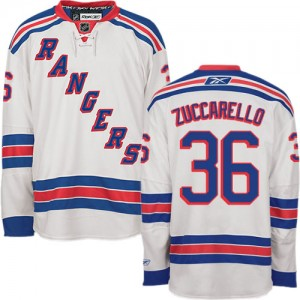 Reebok New York Rangers 36 Men's Mats Zuccarello Authentic White Away NHL Jersey
