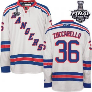 Reebok New York Rangers 36 Men's Mats Zuccarello Authentic White Away 2014 Stanley Cup NHL Jersey