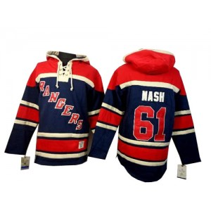 Old Time Hockey New York Rangers 61 Men's Rick Nash Authentic Navy Blue Sawyer Hooded Sweatshirt NHL Jersey