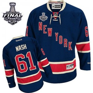 Reebok New York Rangers 61 Men's Rick Nash Authentic Navy Blue Third 2014 Stanley Cup NHL Jersey