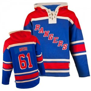 Old Time Hockey New York Rangers 61 Men's Rick Nash Authentic Royal Blue Sawyer Hooded Sweatshirt NHL Jersey