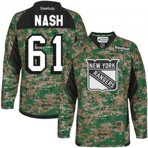 Reebok New York Rangers 61 Men's Rick Nash Premier Camo Veterans Day Practice NHL Jersey