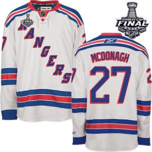 Reebok New York Rangers 27 Men's Ryan McDonagh Premier White Away 2014 Stanley Cup NHL Jersey