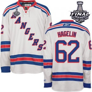 Reebok New York Rangers 62 Men's Carl Hagelin Authentic White Away 2014 Stanley Cup NHL Jersey