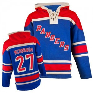 Old Time Hockey New York Rangers 27 Men's Ryan McDonagh Premier Royal Blue Sawyer Hooded Sweatshirt NHL Jersey