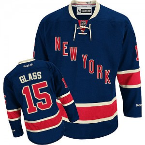 Reebok New York Rangers 15 Men's Tanner Glass Premier Navy Blue Third NHL Jersey