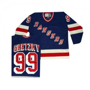 CCM New York Rangers 99 Men's Wayne Gretzky Authentic Royal Blue Throwback NHL Jersey