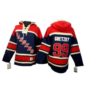 Old Time Hockey New York Rangers 99 Men's Wayne Gretzky Premier Navy Blue Sawyer Hooded Sweatshirt NHL Jersey