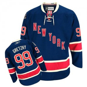 Reebok New York Rangers 99 Men's Wayne Gretzky Premier Navy Blue Third NHL Jersey