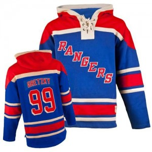 Old Time Hockey New York Rangers 99 Men's Wayne Gretzky Premier Royal Blue Sawyer Hooded Sweatshirt NHL Jersey