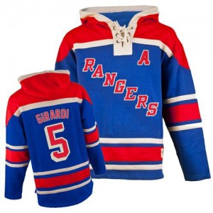 Old Time Hockey New York Rangers 5 Men's Dan Girardi Authentic Royal Blue Sawyer Hooded Sweatshirt NHL Jersey