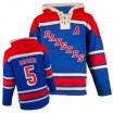 Old Time Hockey New York Rangers 5 Men's Dan Girardi Authentic Royal Blue Sawyer Hooded Sweatshirt NHL Jersey