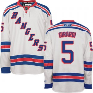 Reebok New York Rangers 5 Men's Dan Girardi Authentic White Away NHL Jersey