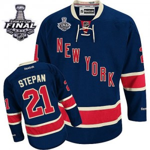 Reebok New York Rangers 21 Men's Derek Stepan Authentic Navy Blue Third 2014 Stanley Cup NHL Jersey