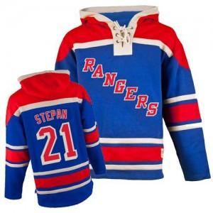 Old Time Hockey New York Rangers 21 Men's Derek Stepan Authentic Royal Blue Sawyer Hooded Sweatshirt NHL Jersey