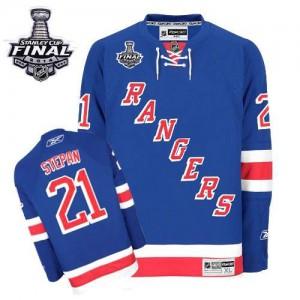 Reebok New York Rangers 21 Men's Derek Stepan Authentic Royal Blue Home 2014 Stanley Cup NHL Jersey