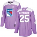 Adidas New York Rangers Men's Tim Gettinger Authentic Purple Fights Cancer Practice NHL Jersey