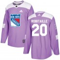 Adidas New York Rangers Men's Luc Robitaille Authentic Purple Fights Cancer Practice NHL Jersey