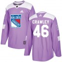 Adidas New York Rangers Youth Brandon Crawley Authentic Purple ized Fights Cancer Practice NHL Jersey