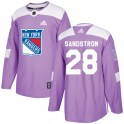 Adidas New York Rangers Youth Tomas Sandstrom Authentic Purple Fights Cancer Practice NHL Jersey