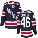 Adidas New York Rangers Youth Brandon Crawley Authentic Navy Blue ized 2018 Winter Classic Home NHL Jersey