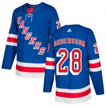 Adidas New York Rangers Men's Lias Andersson Authentic Royal Blue Home NHL Jersey
