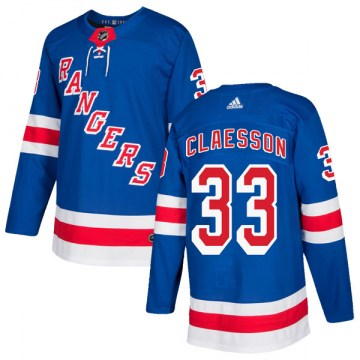 Adidas New York Rangers Men's Fredrik Claesson Authentic Royal Blue Home NHL Jersey