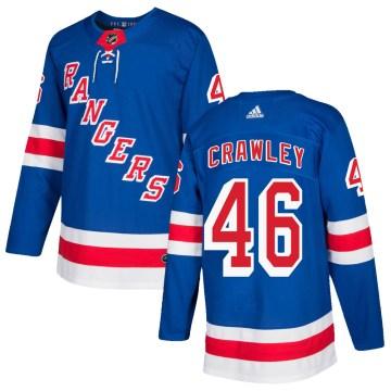 Adidas New York Rangers Men's Brandon Crawley Authentic Royal Blue ized Home NHL Jersey