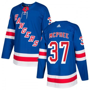 Adidas New York Rangers Men's George Mcphee Authentic Royal Blue Home NHL Jersey